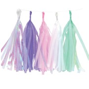 Assorted Colour Tassel Garland with Iridescent (15 Tassels) Pk 1