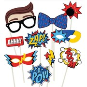 Super Hero Party Photo Prop Decorations Pk 10