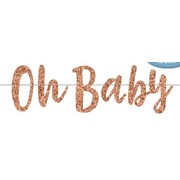 Rose Gold Glitter Oh Baby Baby Shower Banner (2m) Pk 1