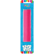 Tall Pink Cake Candles Pk 12