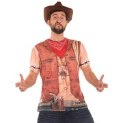 Men's Sexy Cowboy Faux Real T Shirt (X Large) Pk 1
