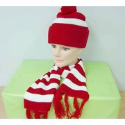 Red and White Striped Beanie Set