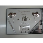 Silver 18th Birthday Guest Book with Pen Pk 1
