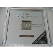 Silver Engagement Photo Album with Diamante Hearts Pk 1