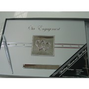 Silver Engagement Guest Book with Diamante Hearts Pk 1