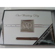 Silver Wedding Guest Book with Diamante Hearts Pk 1