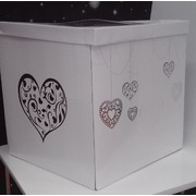 White Wedding Cardboard Wishing Well with Silver Hearts (30cmx30cmx30cm) Pk 1