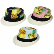 Assorted Colour Hawaiian Fedora Hat Pk 3