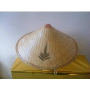Chinese Straw Coolie Hat with Leaf Print Pk 1