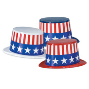 Assorted Colour Plastic Top Hat with USA American Band Pk 1 (1 HAT ONLY)