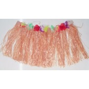 Child Hawaiian Luau Natural Colour Plastic Hula Skirt Pk 1