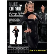 Adult Black Cat Suit Costume (Small, 8-10) Pk 1