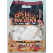 Large White Marshmallows for Barbecuing + Bamboo Skewers (400g)
