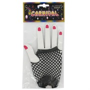 80's Party Gloves - Short Fingerless Black Fishnet Pk2