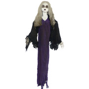 Hanging Zombie Girl Decoration with Light up Eyes (90cm) Pk 1
