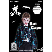 Black & Silver Halloween Bat Cape (Child) Pk 1