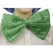 Large Green Bow Tie with Silver Dots Pk 1