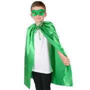 Child Super Hero Satin Cape & Eye Mask Set - Green