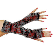 Zombie Tattered Gauze Gloves with Blood Pk 2