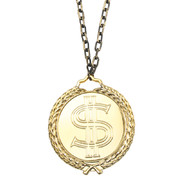 Pimp Necklace - 12cm Dollar Sign on Gold Chain Pk 1