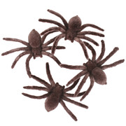 Brown Flocked Spiders (7cm) Pk 4