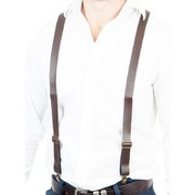 Adult Brown Leather Look Suspenders Pk 1