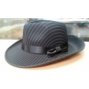 Black Pinstripe Gangster Hat Pk 1
