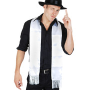White Gangster Scarf With Fringe Pk 1