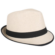 Cream Trilby with Black Band Pk 1