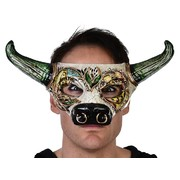 Adult Toro Gold Eye Mask with Green Horns Pk 1