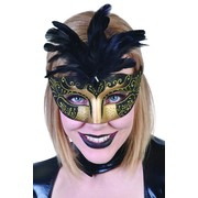 Gold & Black Masquerade Mask With Feathers - Gabriella Pk 1