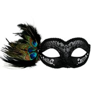 Black & Silver Masquerade Mask with Peacock Feathers - Adrianna Pk 1