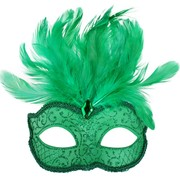 Green Eye Mask with Feathers - Daniella Pk 1