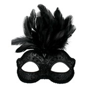 Black Glitter Masquerade Mask with Feathers - Daniella Pk 1