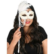 Jenna Cream & Silver Eye Mask with Pearl Beads & Feathers on Stick Pk 1