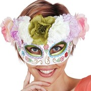Day of the Dead White Eye Mask with Pastel Flowers Pk 1