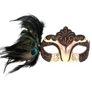 Burlesque Black Eye Mask with Peacock Feathers Pk 1