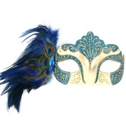 Burlesque Blue Eye Mask with Peacock Feathers Pk 1