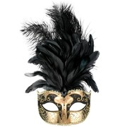 Black & Gold Masquerade Mask With Feathers - Sienna Pk 1