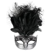 Black & Silver Masquerade Mask With Feathers - Sienna Pk1