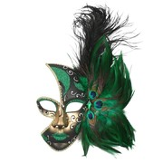 Green & Gold Mardis Gras Eye Mask with Feathers Pk 1