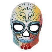 Day of the Dead Yellow & Red Full Face Skull Mask Pk 1