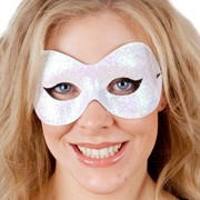 Fluro White Sparkle Eye Mask Pk 1