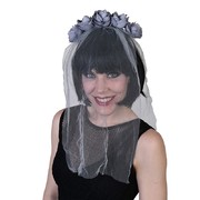 Adult Grey Veil on Headband with Roses Pk 1