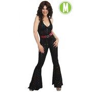Black Disco Jumpsuit with Coloured Sequins (Medium) Pk 1