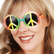 Multi Coloured Peace Sign Glasses with Dark Lenses Pk 1