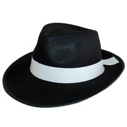 Black Feltex Gangster Hat with White Band Pk 1