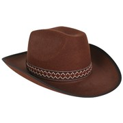 Brown Cowboy Hat With Woven Band Pk 1