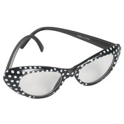 60s Black Glasses with White Dots Pk 1 (Clear Lenses)