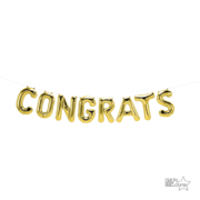 Gold Congrats 16in. Foil Balloon Script Banner Pk 1 (Air Inflation Only)